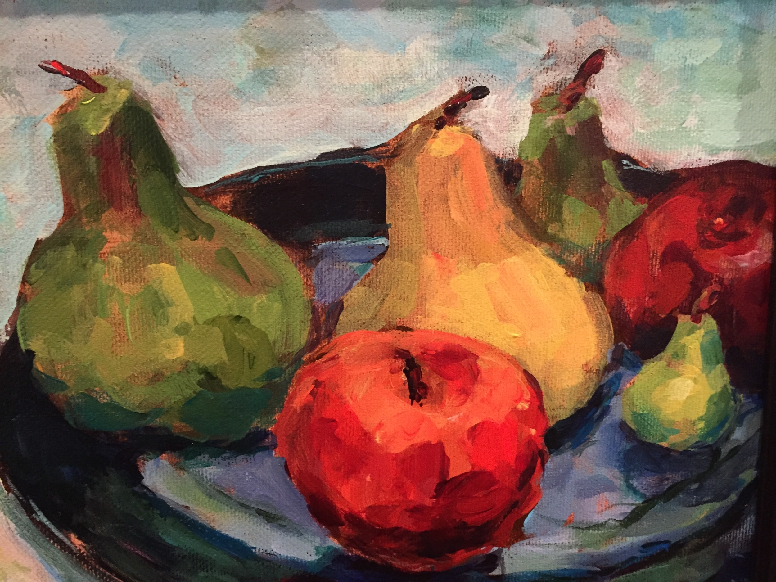 "Josephine Barrett, ""Still Life - Apples and Pears""          Acrylic,  8"" x 10"",   $350"