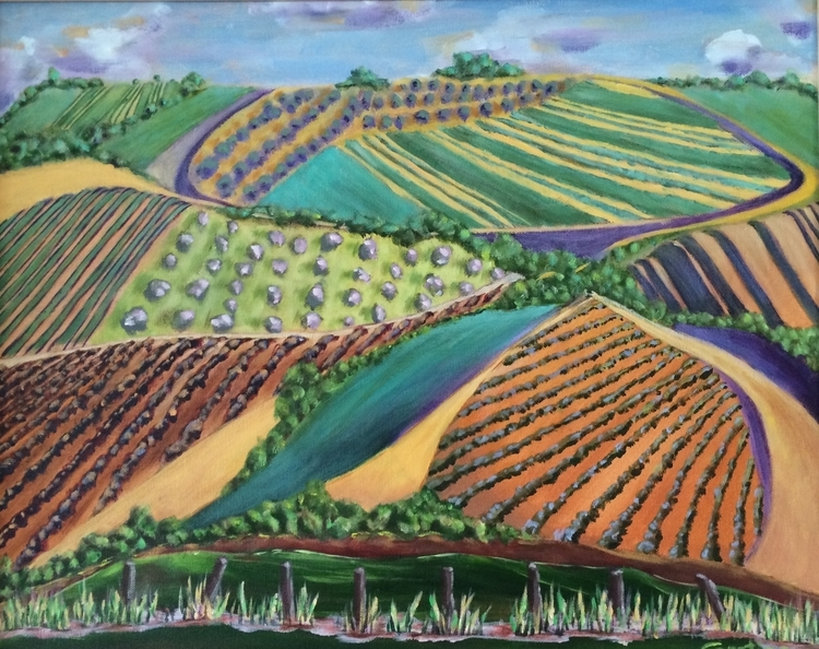 "Donna Gustina,Tuscany Hillside , Acrylic on canvas, 17""x 21"", $ 375"