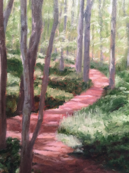 "Jane Ryan,  Bluff Walk oil, 9""x12"" NFS"