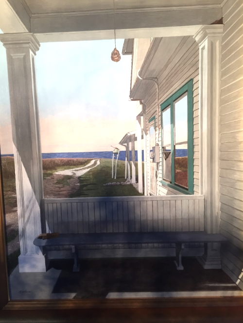 "Robert Wisner, "" Dooryard"", egg tempera on panel$1700"