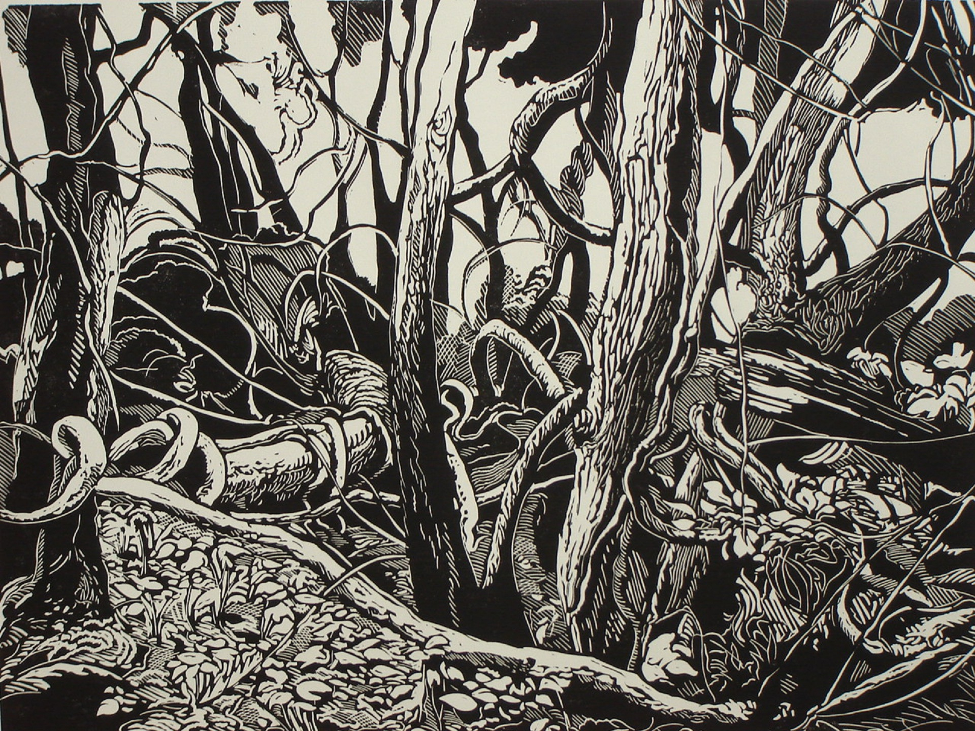 "Dennis Revitzky, ""Woodland Composition""                   Linocut"