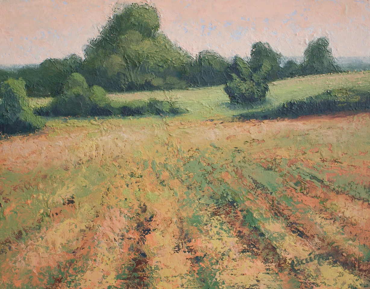"Kathryn Bevier, ""Farm In Mendon"", Oil and Wax, $425"