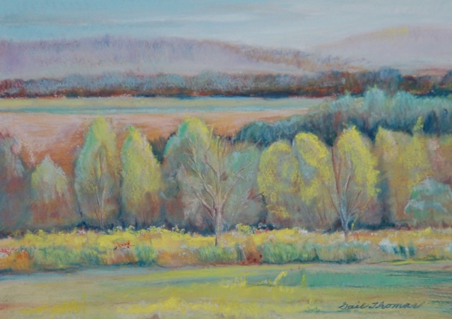 "Gail Thomas, ""Cedar Trees"", Pastel. $250"