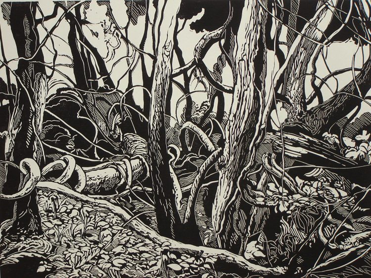 "Dennis Revizky,  ""Woodland Composition"",          Linocut ,  ""16 x 20"",  $400"