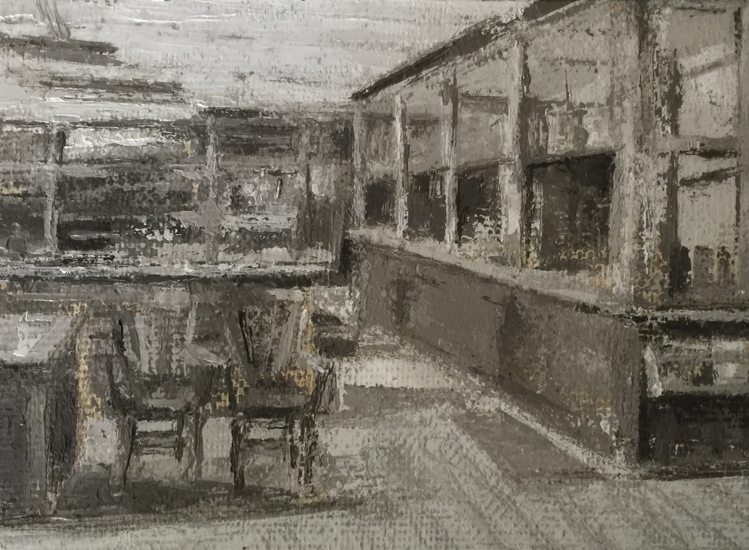 "Ginny Gibson,  ""DL & W""   Railroad Laboratory I""          Oil on Linen,  $350"