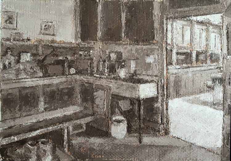 "Ginny Gibson,  ""DL & W"" Laboratory 2,                       Oil on Linen, $300  SOLD"