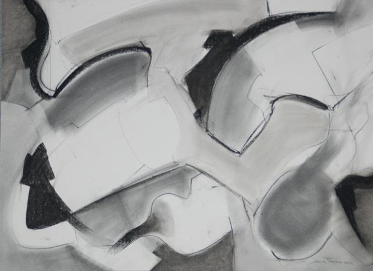 "James Thomas, ""Thinking of Gorky 2012""      Charcoal, Graphite Powder,  $300"