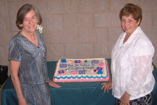 Prudence Humber (left) celebrating 23 years of faithful service in rescuing children with Alpha Pregnancy Services