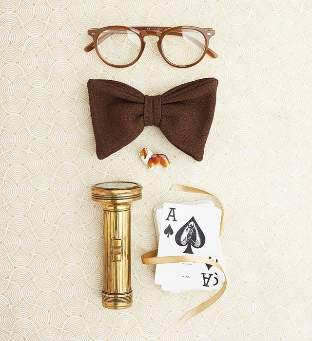 Remember the ace up your sleeve. . . . @krisdrakephoto  #adventure #vintage #flatlays #flatlayinspo #kidstyling #rewindvintage #dogsofinstagram #warbyparker #bowtie #brass #magic #aceupyoursleeve #flashlight #wesanderson #collie #papersource