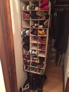 Most recent shoe organizing solution.  Shoes here...