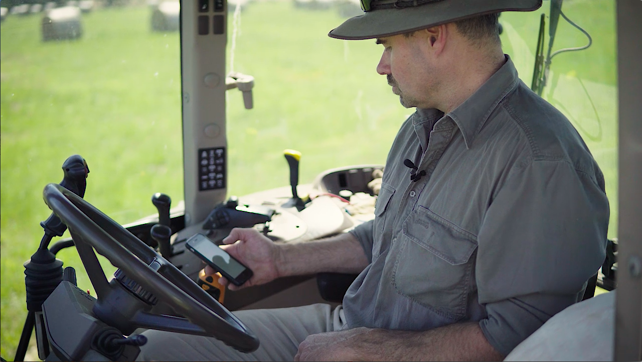 Simon Marriott checking tank levels and setting alerts from his smartphone.