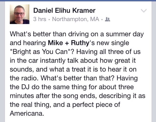 Took a screen shot of this wonderful post from my friend Daniel on FB. This early support really puts a tear in the eye!