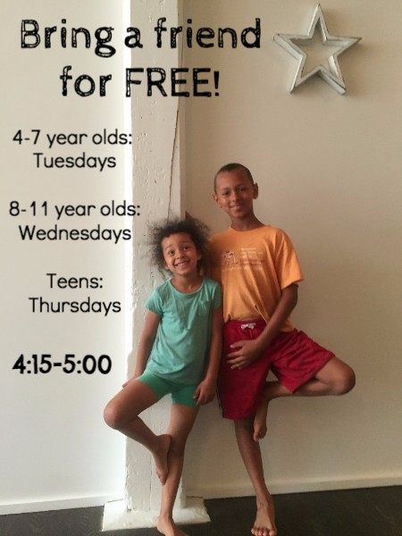 Bring a friend to their first Kids or Teen Yoga class for free for the whole month of July!