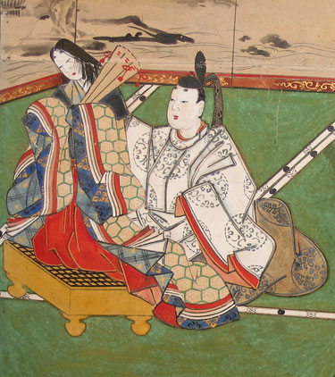 Genji trims young Murasaki's hair while she stands on a go board.