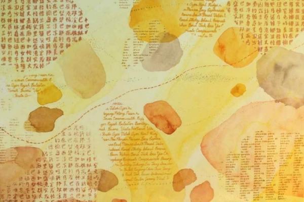 Temasek Travel – Lingua Franca , mixed media   on canvas, 45 x 60 cm, 2014.  Price on application.