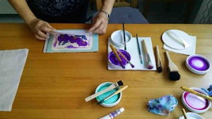 Woodblock printing set-up. Incredible variation possible using watercolour paints and a press - your arm!