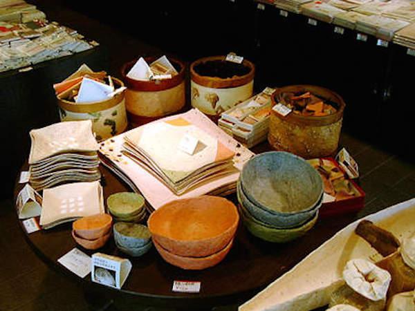 Cute bowls and plates made from washi paper at Motoyoshi.