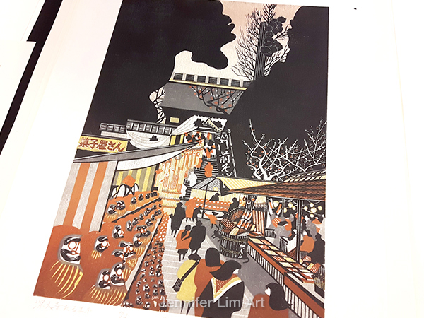 Another lovely Japanese woodblock print. Temple market scene!