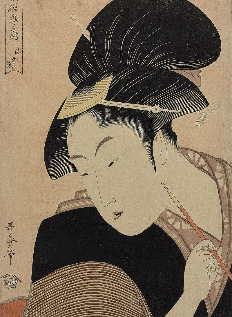 Fukaku Shinobu Koi  or  'Deeply Hidden Love'  by Kitagawa Utamaro (c. 1753-1806)