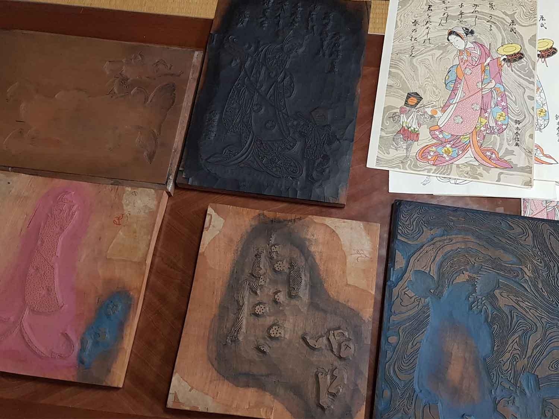Examples of Ukiyoe style woodblocks and prints