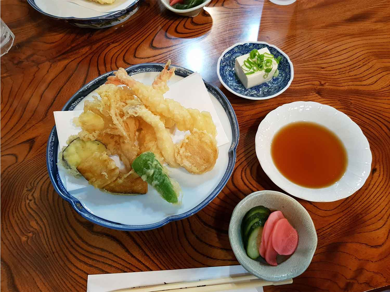 Local tempura with pickles and fresh tofu