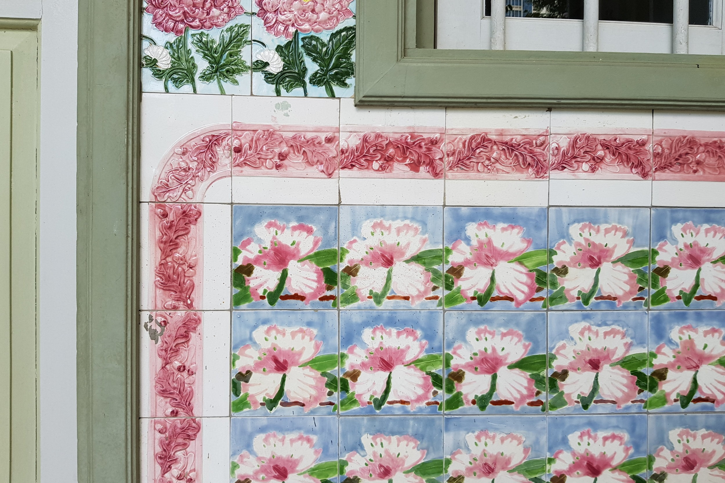 Beautiful tiles at a shophouse on Petain Road, Singapore