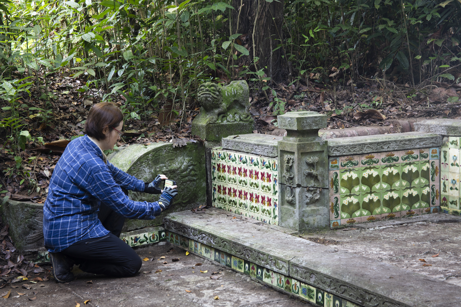 One of the most beautiful majolica tile tombs at the Great Bukit Brown Cemetery complex.