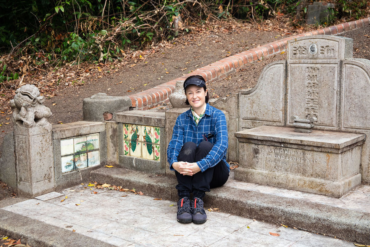 At the tomb of my Peranakan great-grandparents at Bukit Brown Cemetery
