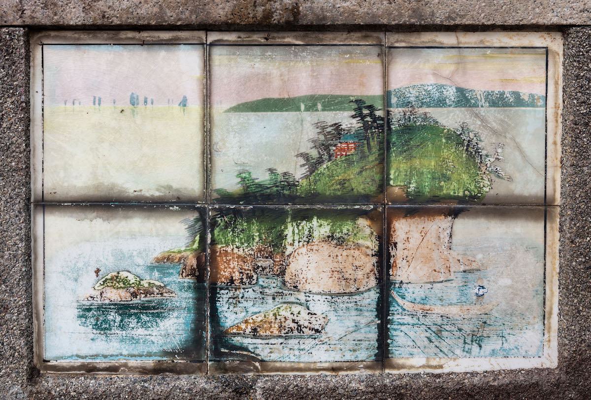 A Japanese landscape type tile panel appears on the 1936 tomb of my Peranakan great-grandparents