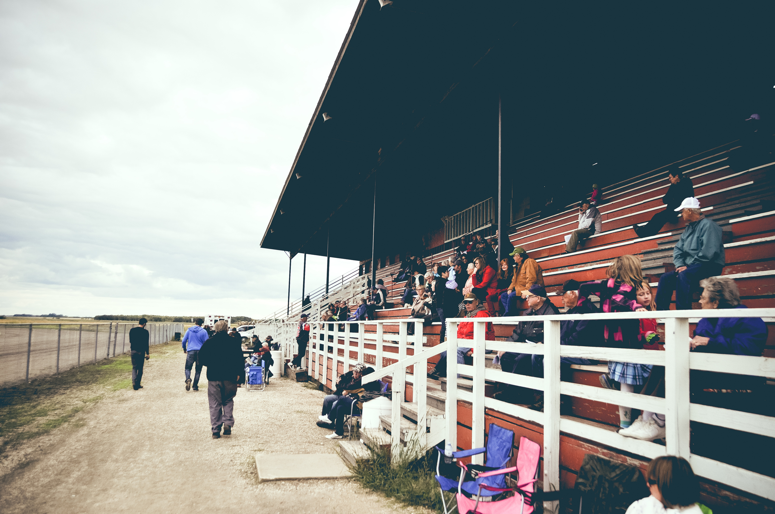 The stadium and locals out to watch the race