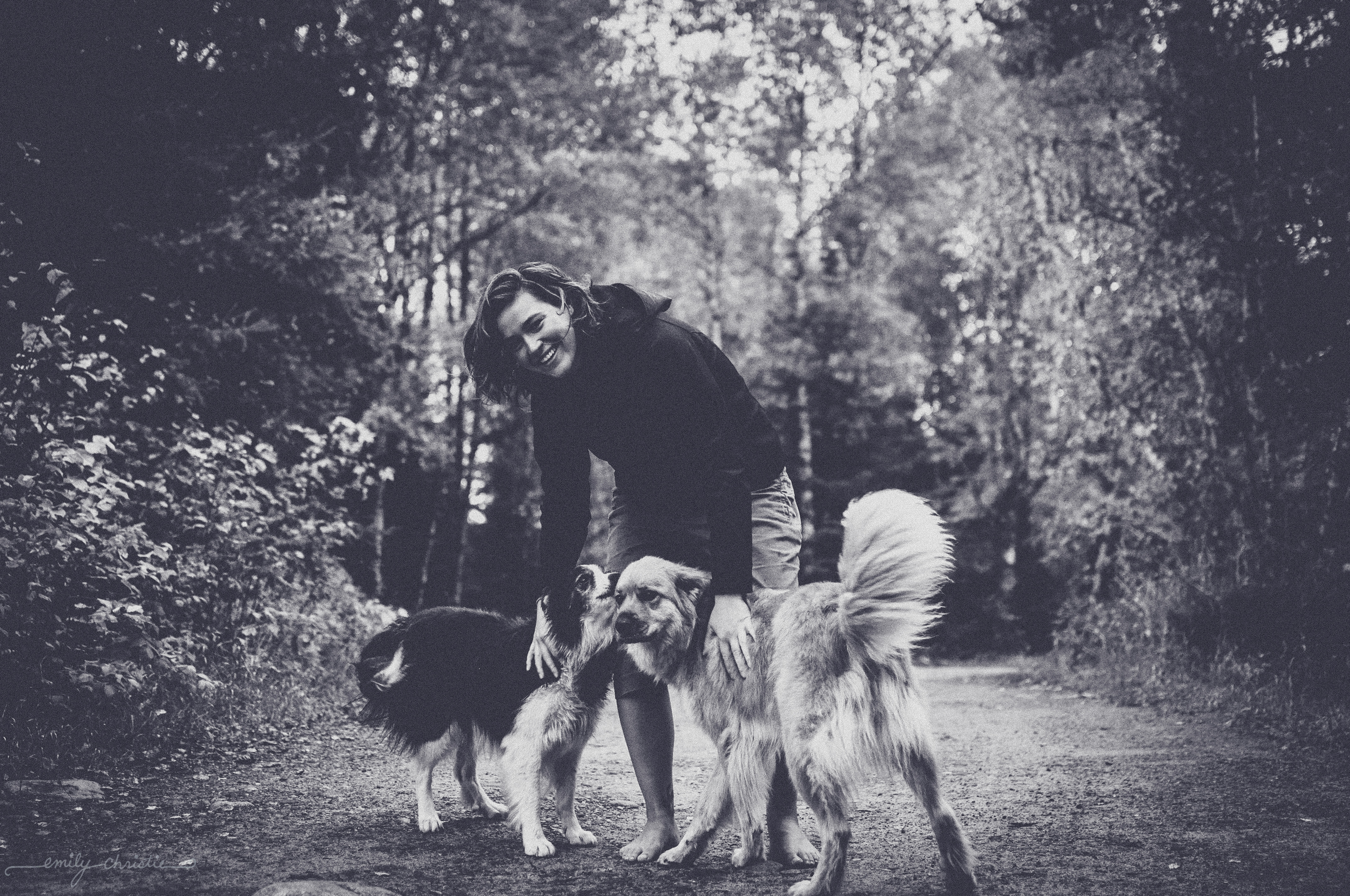 Brooke with the dogs (Islay and Sumac)