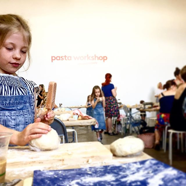 Learning all about the pasta making arts today @hellolunchlady autumn issue launch party... kids doing the dough and keeping the parents caffeinated for cleanup... #riseandshine #coldbrewcoffee #peopleforpasta