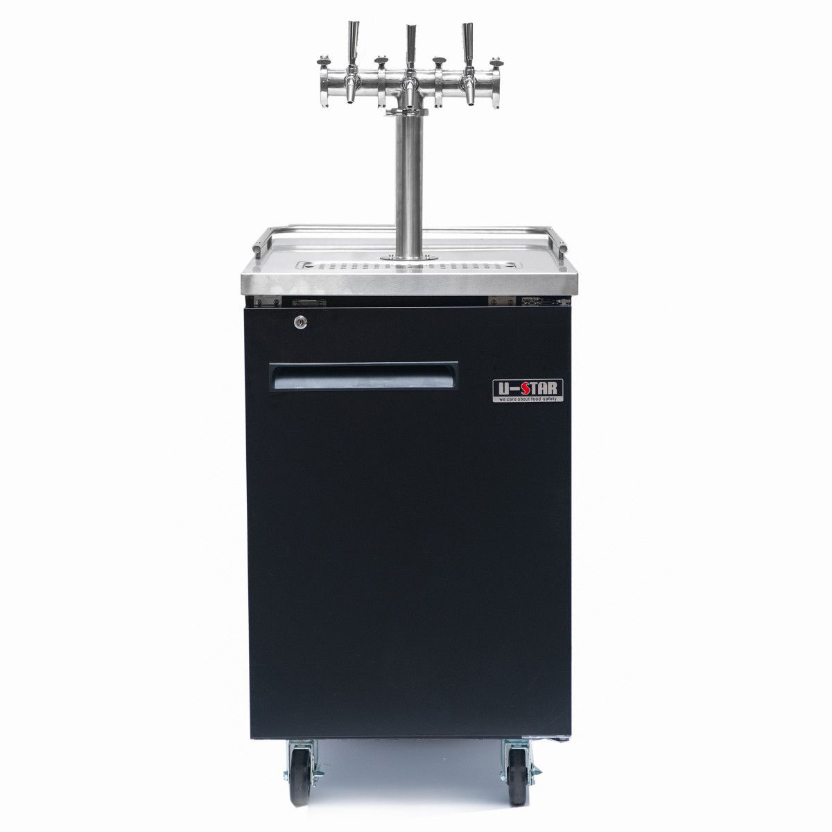 Kegmaster Grand Deluxe 60 - Dimensions: (W*D*H) 596 x 772 x 905 (mm) Height including castors: 1005 mmcommercial grade refrigerator with holding capacity = 4 x 19.5 litre kegs or 1 x 50 litre keg$950 ex gst and requires additional tap system below to be added for full functioning or/$10 ex gst per week rental billed monthly