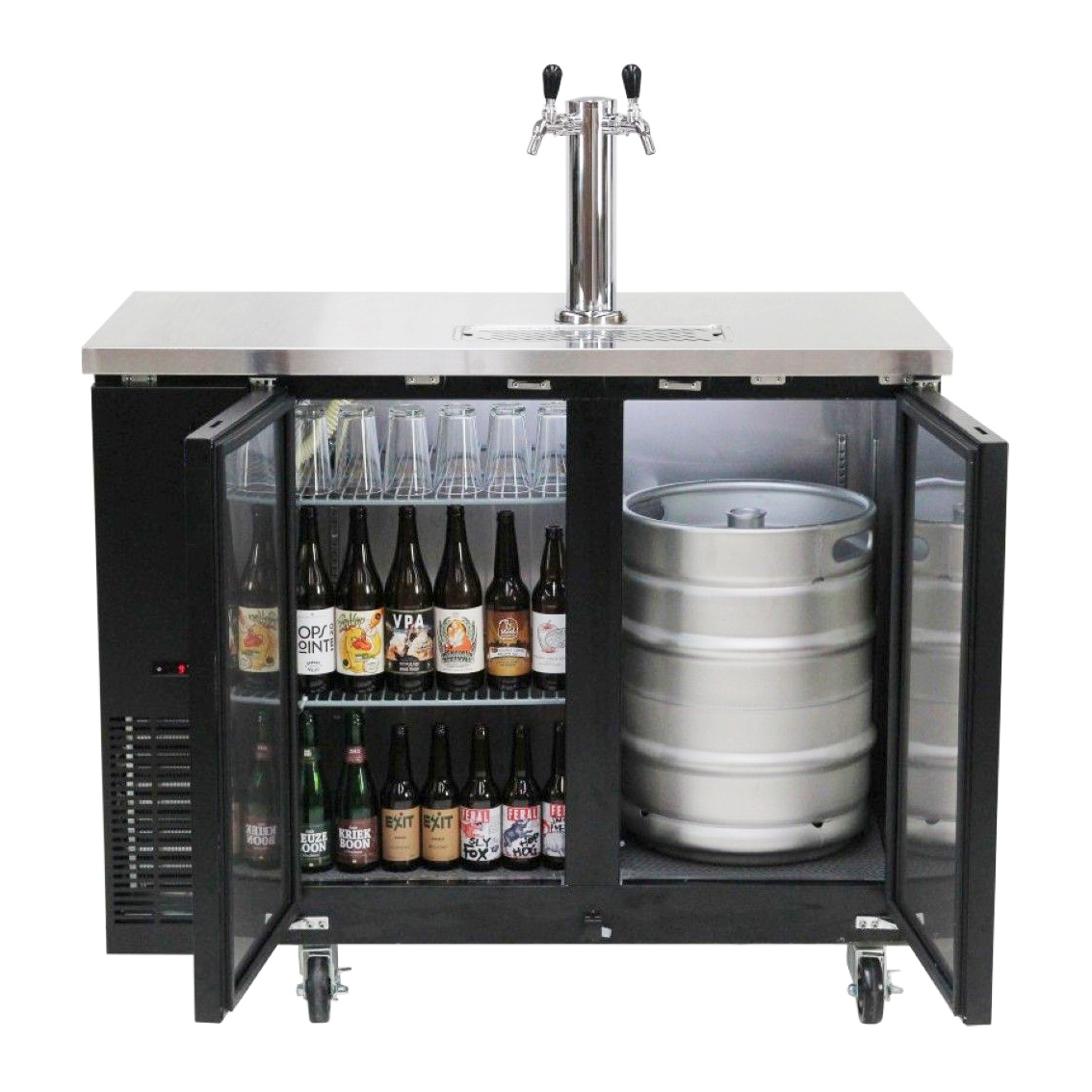 Kegmaster Grand Deluxe 125 - Dimensions: (W*D*H) 1240 x 620 x 920 (mm) Height including castors 1035 mmcommercial grade refrigerator with holding capacity = 8 x 19.5 litre kegs or 2 x 50 litre keg$1350 ex gst and requires additional tap system below to be added for full functioning setup$12.50 ex gst per week rental billed monthly