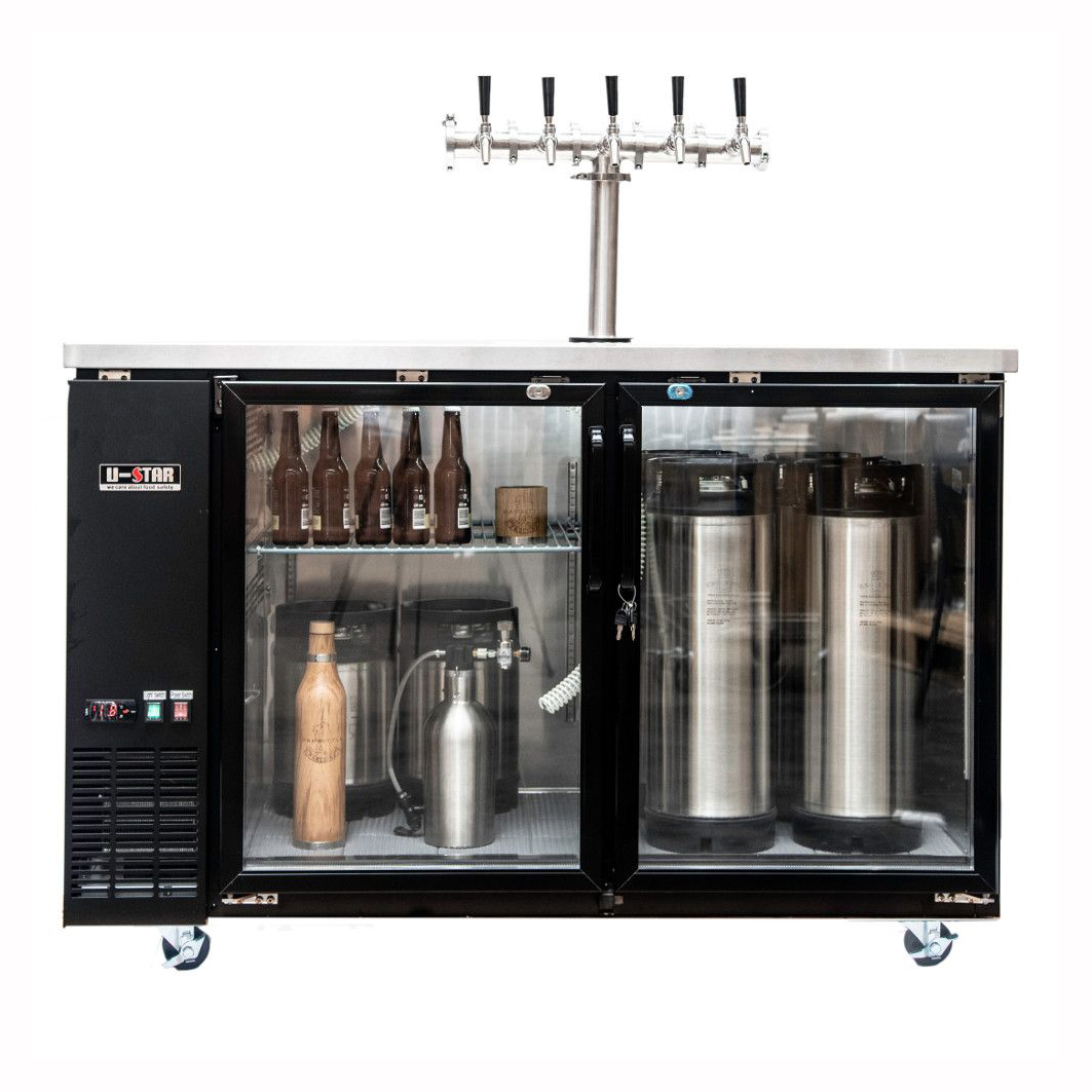 Kegmaster Grand Deluxe 150 - Dimensions: (W*D*H) 1495 x 705 x 905 (mm) Height including castors: 1005 mmholding capacity = 12x19.5 litre kegs or 3 x 50 litre keg$1450 ex gst and requires additional tap system below to be added for full functioning setup$12.50 ex gst per week rental billed monthly