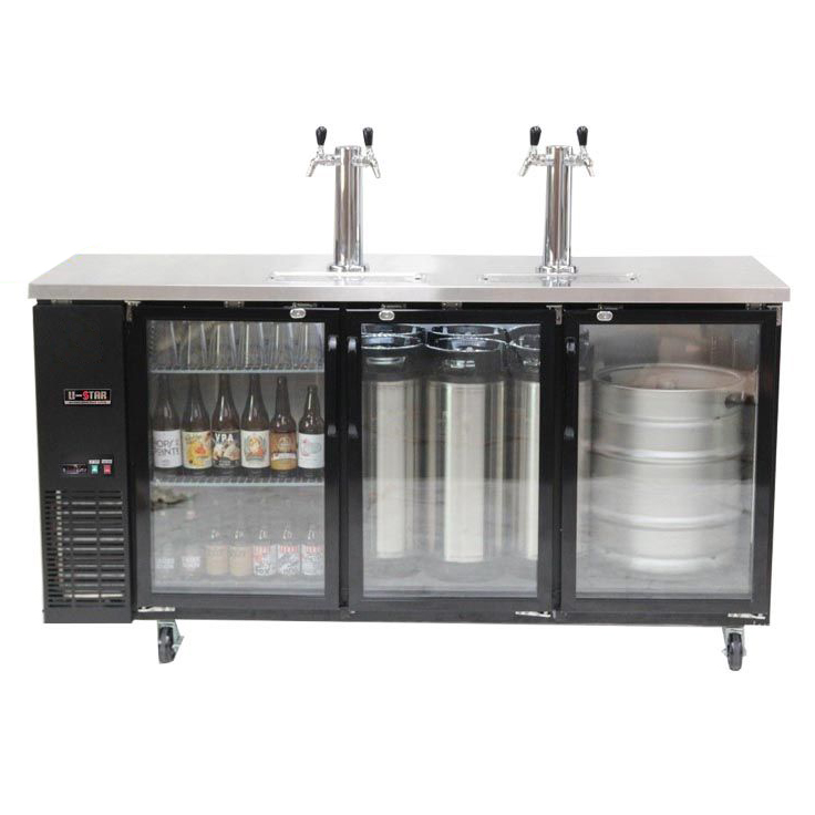 Kegmaster Grand Deluxe 185 - Dimensions: (W*D*H) 1848 x 620 x 920 (mm) Height including castors 1035mmholding capacity = 12x19.5 litre kegs or 3 x 50 litre keg$1600 ex gst and requires additional tap system below to be added for full functioning setup$12.50 ex gst per week rental billed monthly
