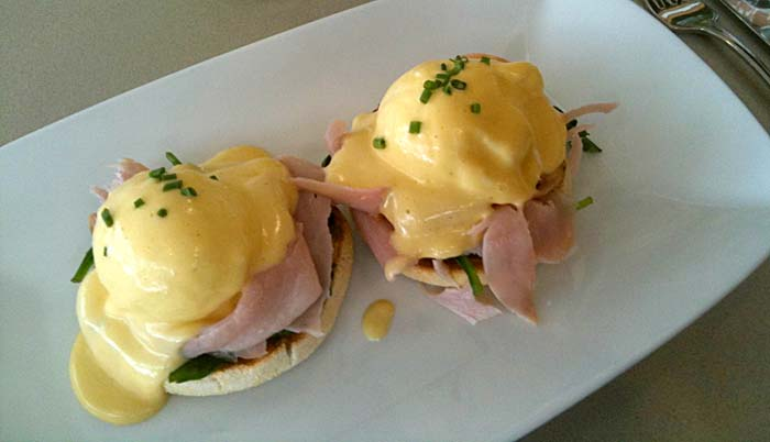 Eggs Benedict with shaved ham - always a favourite!