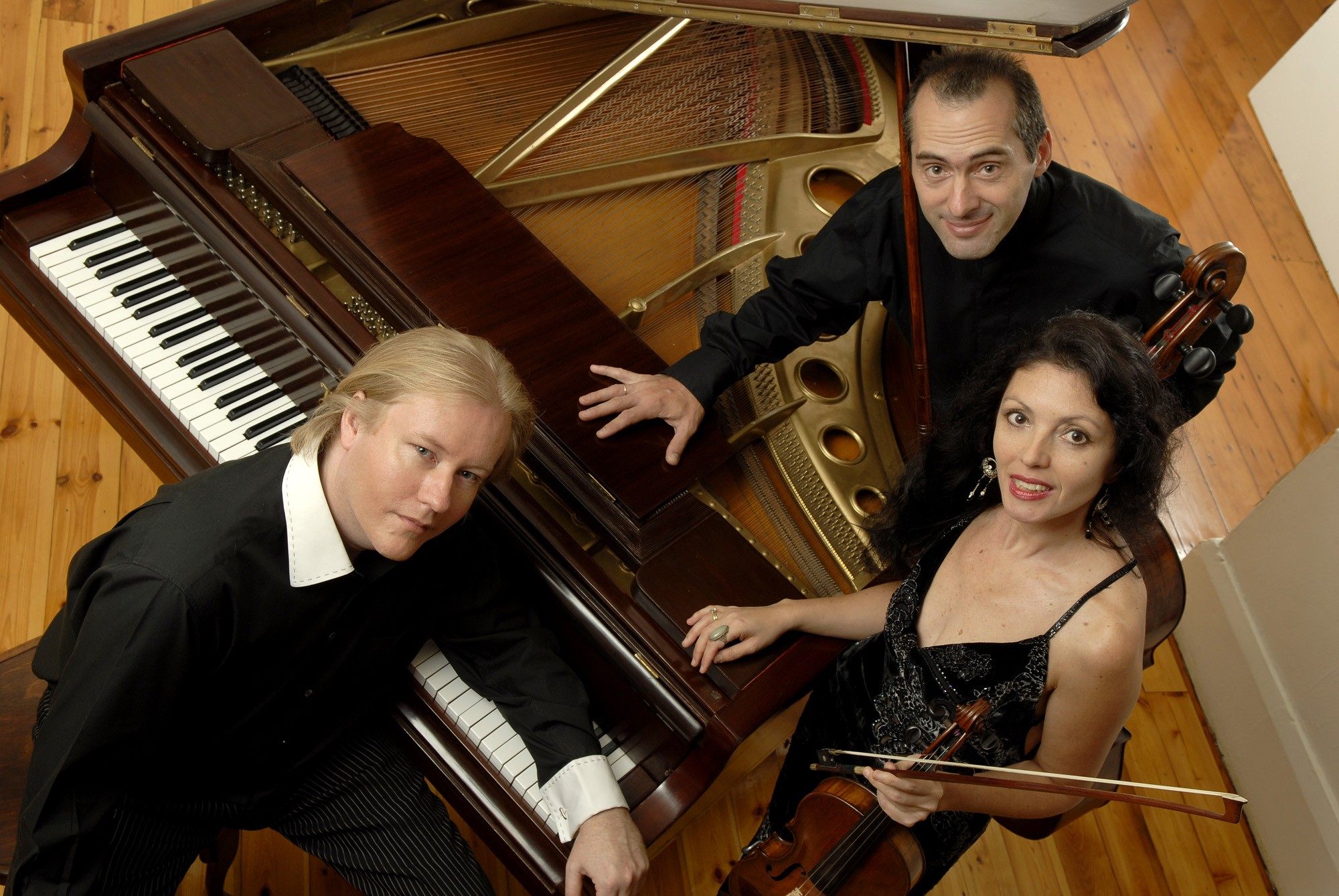 PIC : The Kerimov Trio : Elena Kerimova (violin) Boris Kerimov (cello) and Christopher Duigan (piano) play in the Trout Quintet by Austrian composer Franz Schubert to be presented at Ashton International College on Wednesday 9 October. Pic by Val Adamson