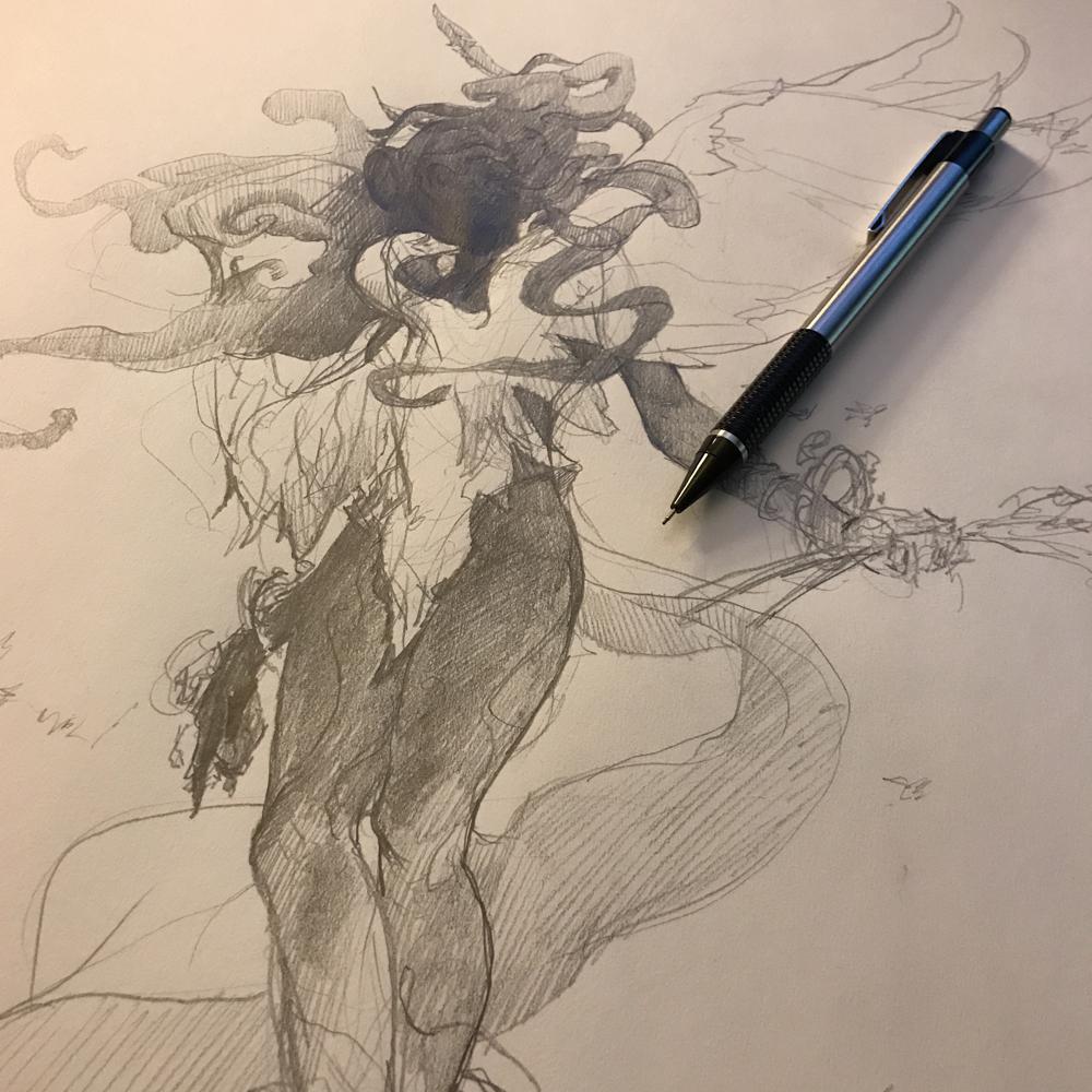 Hamaliel, Angel of Virgo - Final Sketch $400.00