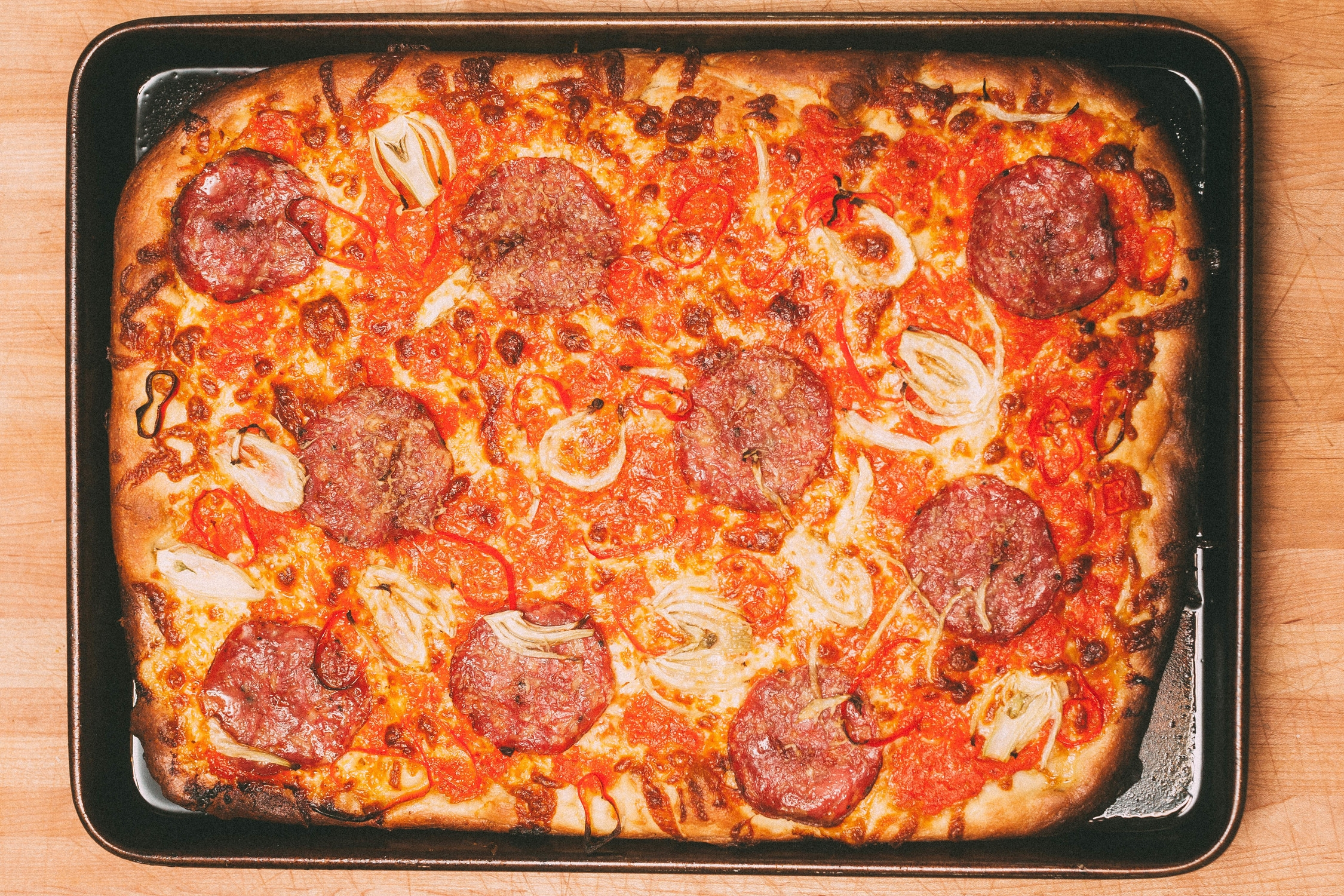 Hot Soppressata and Fennel Pizza