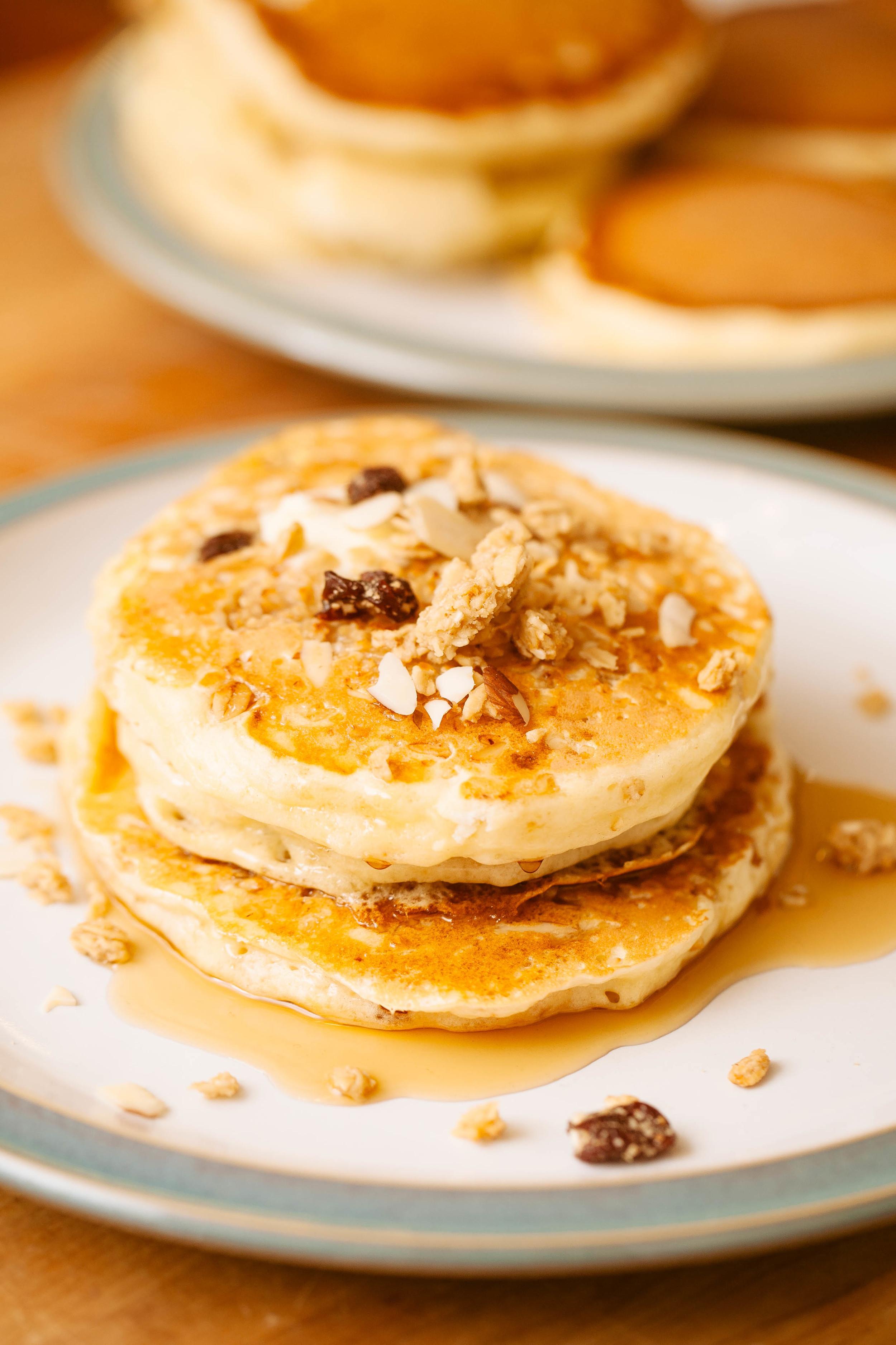 Pancakes with sweet cherry almond granola