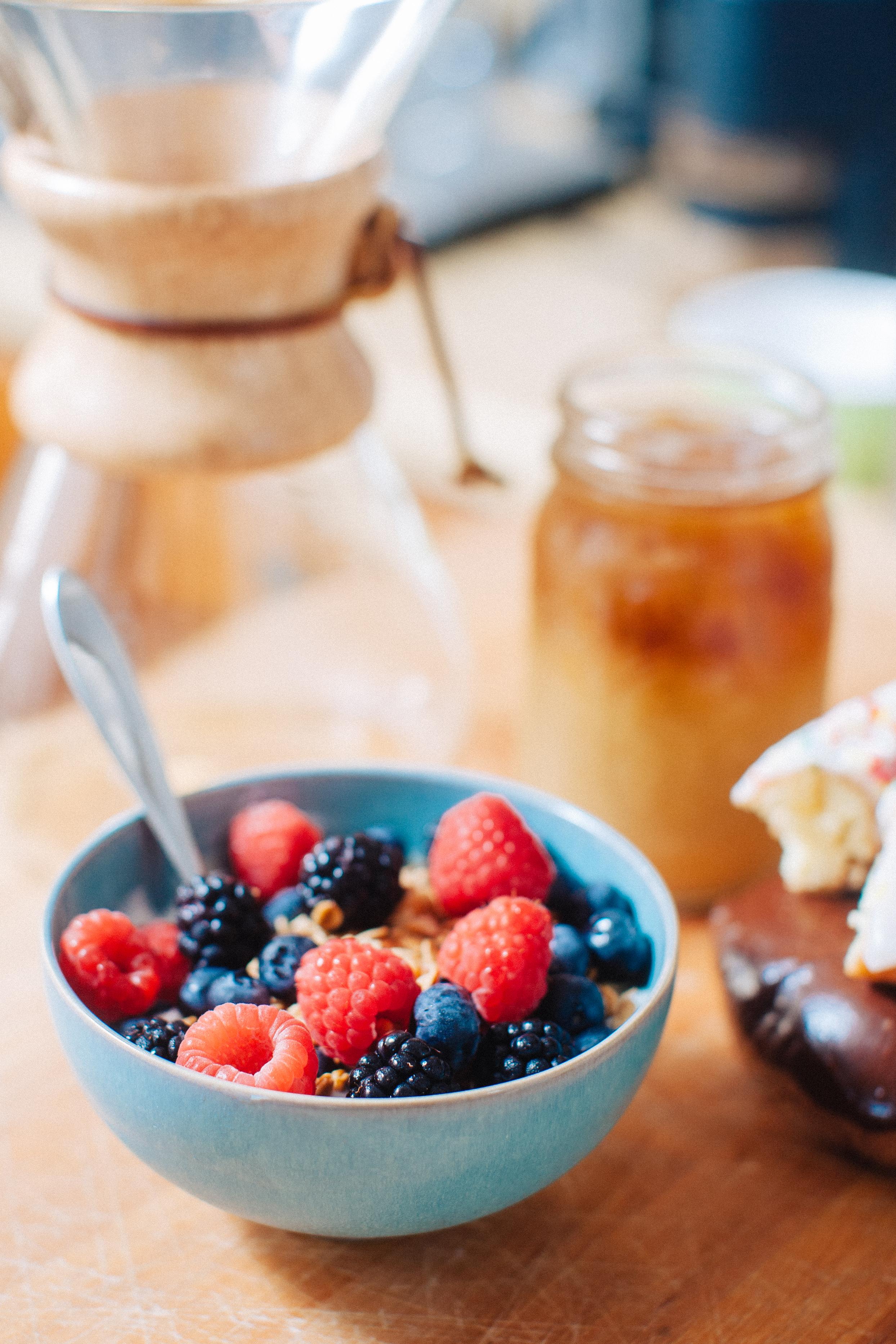 Fresh berries with granola and yogurt
