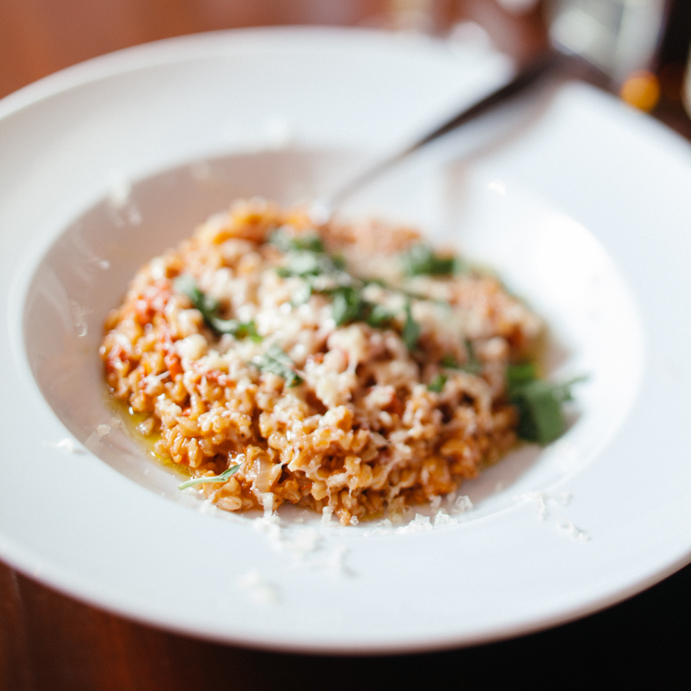 Farro risotto with homegrown cherry tomatoes