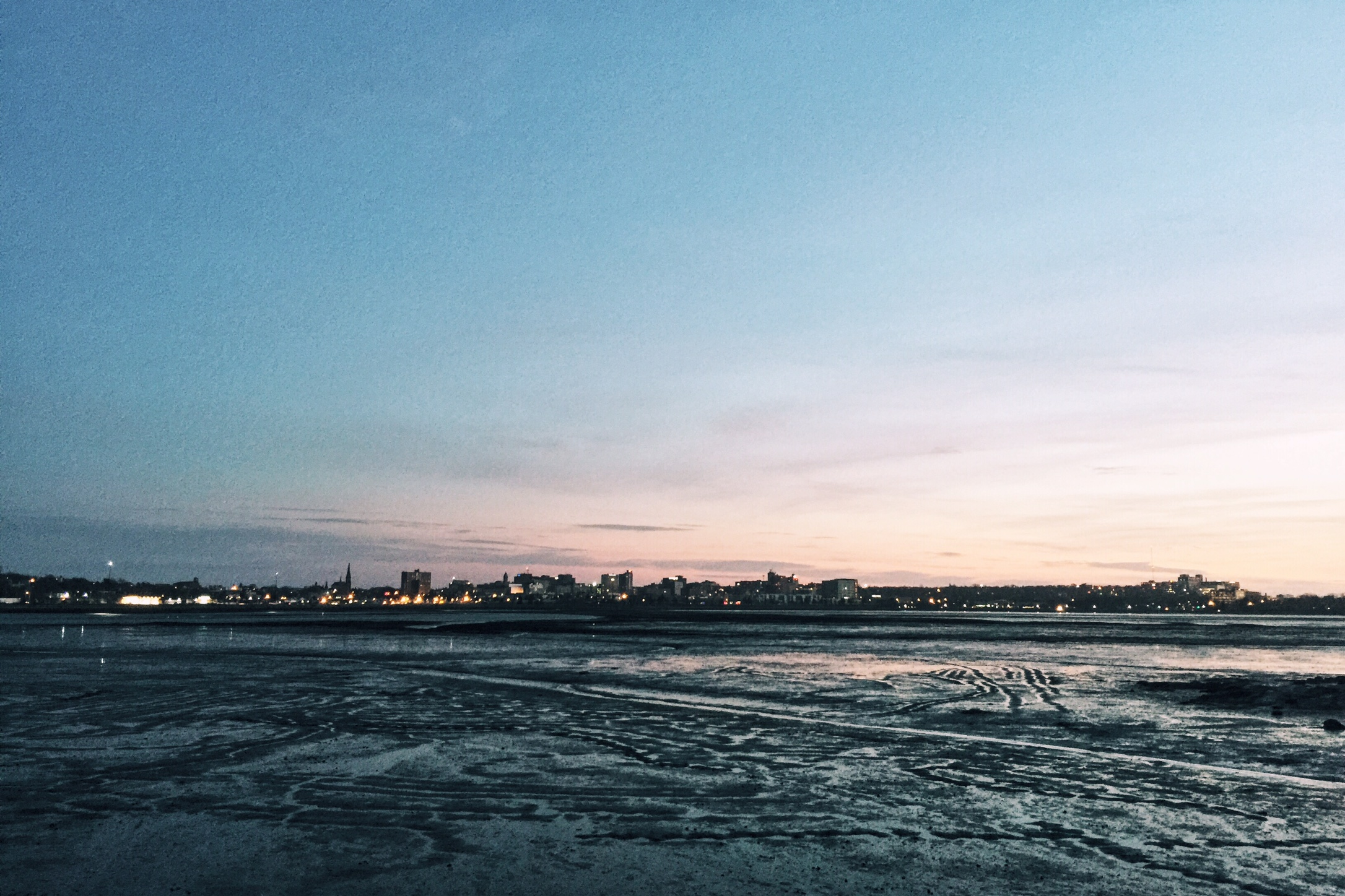 Post-Thanksgiving feast walk. The view of our new city, Portland, ME, at low tide.