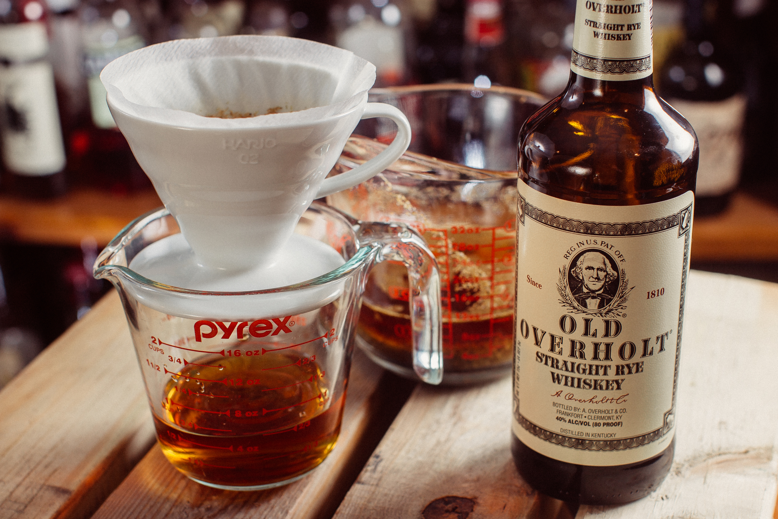 Chamomile infused Old Overholt straight why whiskey