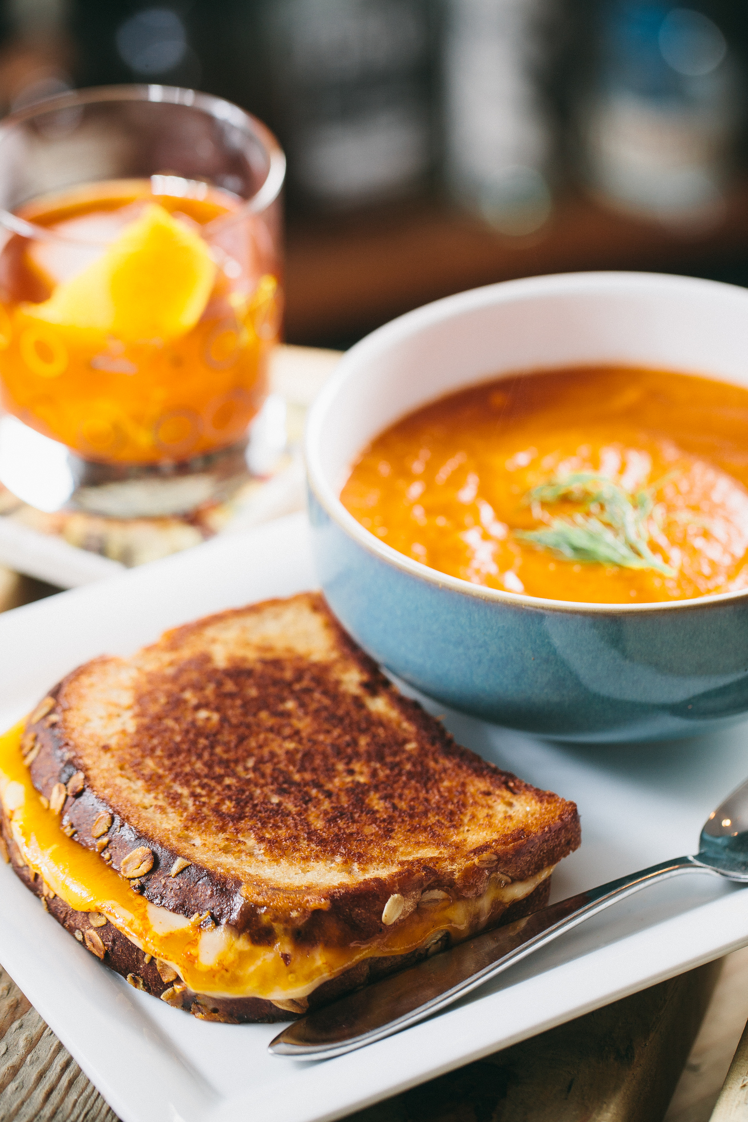 Grilled cheese with tomato and fennel soup