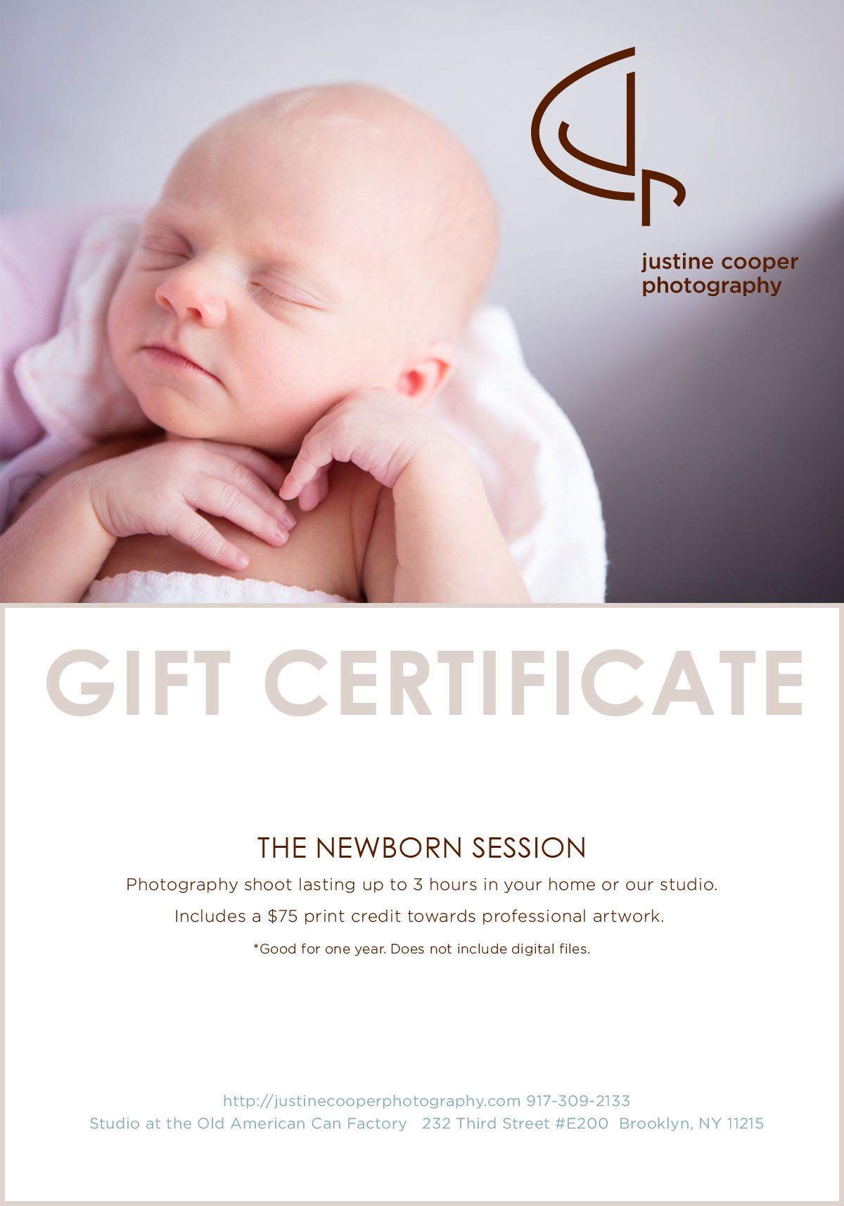 Electronic or printed gift certificates available