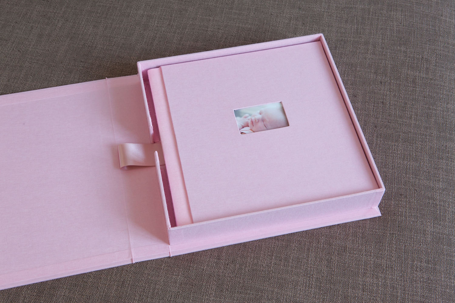 Heirloom linen album with custom presentation box