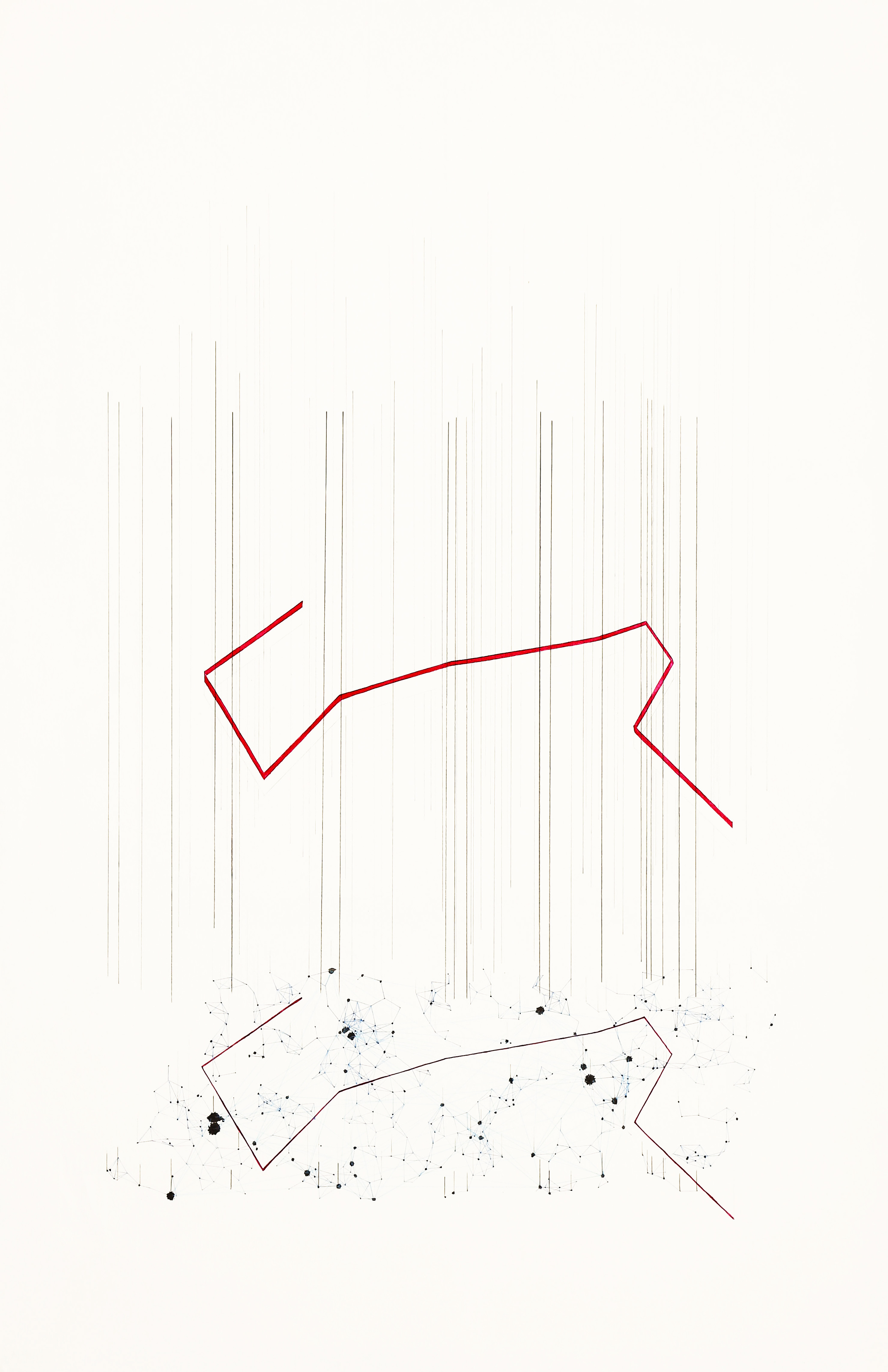 Breaking seditious clusters  2014. Ink, color pencil, and pencil on paper. 90 x 60 cm