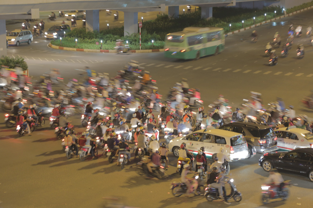 Traffic at an intersection in Saigon. 2013